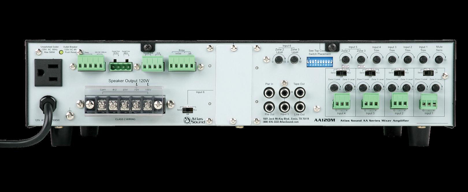 6 Input 120 Watt 25v 70v 100v 8 Mixer Amplifier With