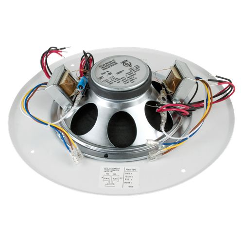 8 dual voice coil in ceiling loudspeaker for fire signaling with 5 watt 70v transformer and u51. Black Bedroom Furniture Sets. Home Design Ideas