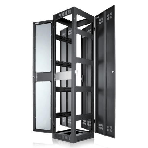 Picture of Gangable Rack 25.5 inch Deep, 35RU **Shown with Optional Side Panels & Front Door**