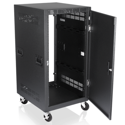 Picture of 25 inch Deep, 21RU Mobile Equipment Rack Includes: Casters, Side Handles, and Solid Doors