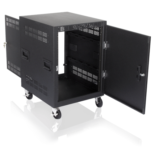 Picture of 30 inch Deep, 14RU Mobile Equipment Rack Includes: Casters, Side Handles, and Solid Doors