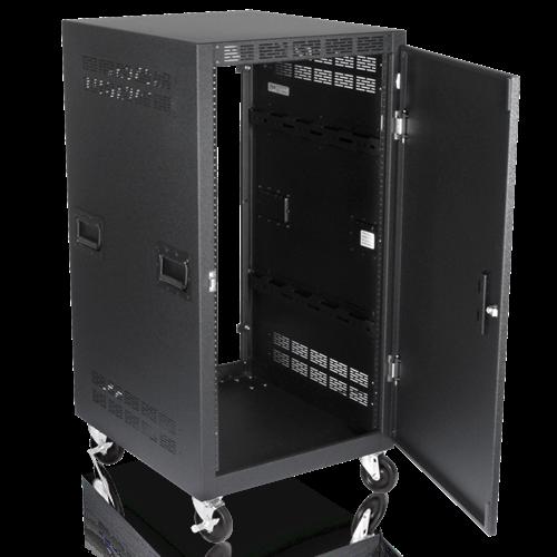 Mobile Equipment Rack Including Solid Front Door Casters