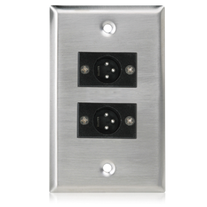 Picture of Single Gang Stainless Steel Plate with (2) Male 3 Pin XLR