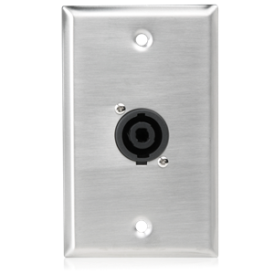 Picture of Single Gang Stainless Steel Plate with (1) NL4MP 4 Pole Connector