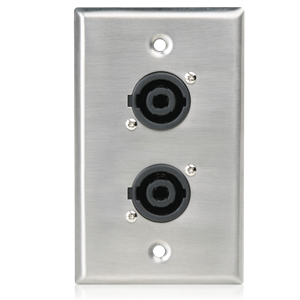 Picture of Single Gang Stainless Steel Plate with (2) NL4MP 4 Pole Connectors