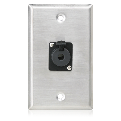 Picture of Single Gang Stainless Steel Plate with (1) Female Locking TRS Connector