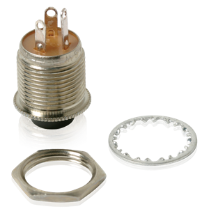 Picture of SPDT Momentary Push Button Switch, 1/4 Amp Contacts. Black Button. Includes Hardware