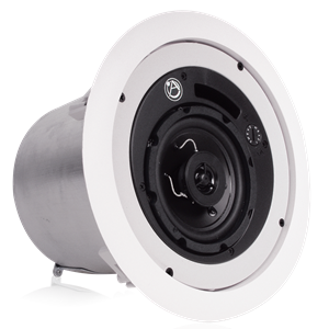 "Picture of 4"" Coaxial In-Ceiling Loudspeaker with 16-Watt 70/100V Transformer, Ported Enclosure, and UL2043 Certification"