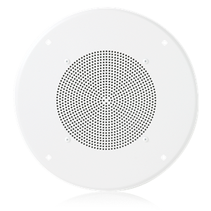 "Picture of 8"" Dual Voice Coil In-Ceiling Speaker for Fire Signaling with 5-Watt 70V Transformer and U51-8 Baffle"