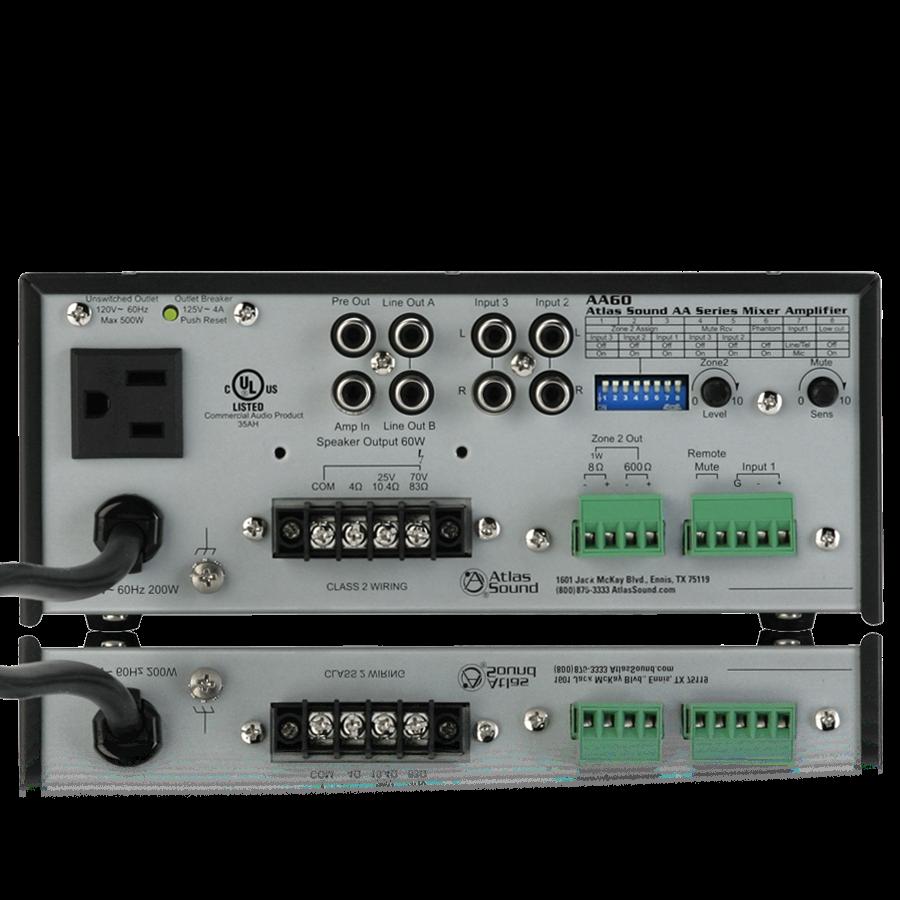 3 Input 60 Watt 25v 70v 100v 8 Mixer Amplifier Atlasied Class 2 Audio Wiring