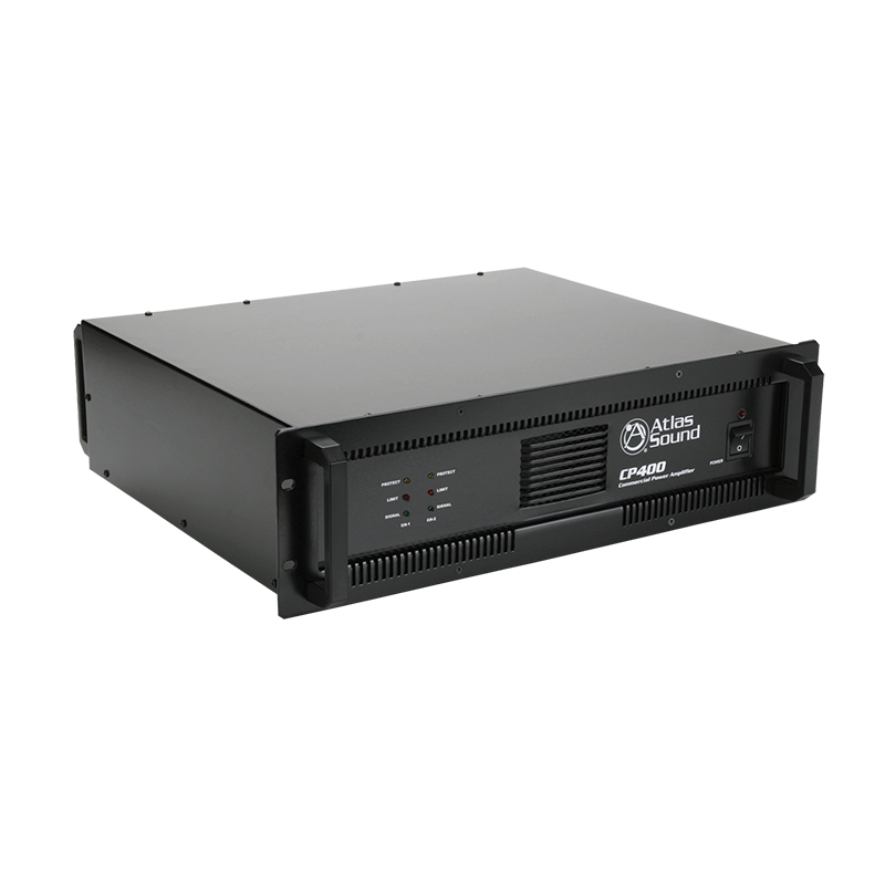 2-Channel, 400-Watt 70V/100V/8Ω/4Ω Commercial Audio Power Amplifier