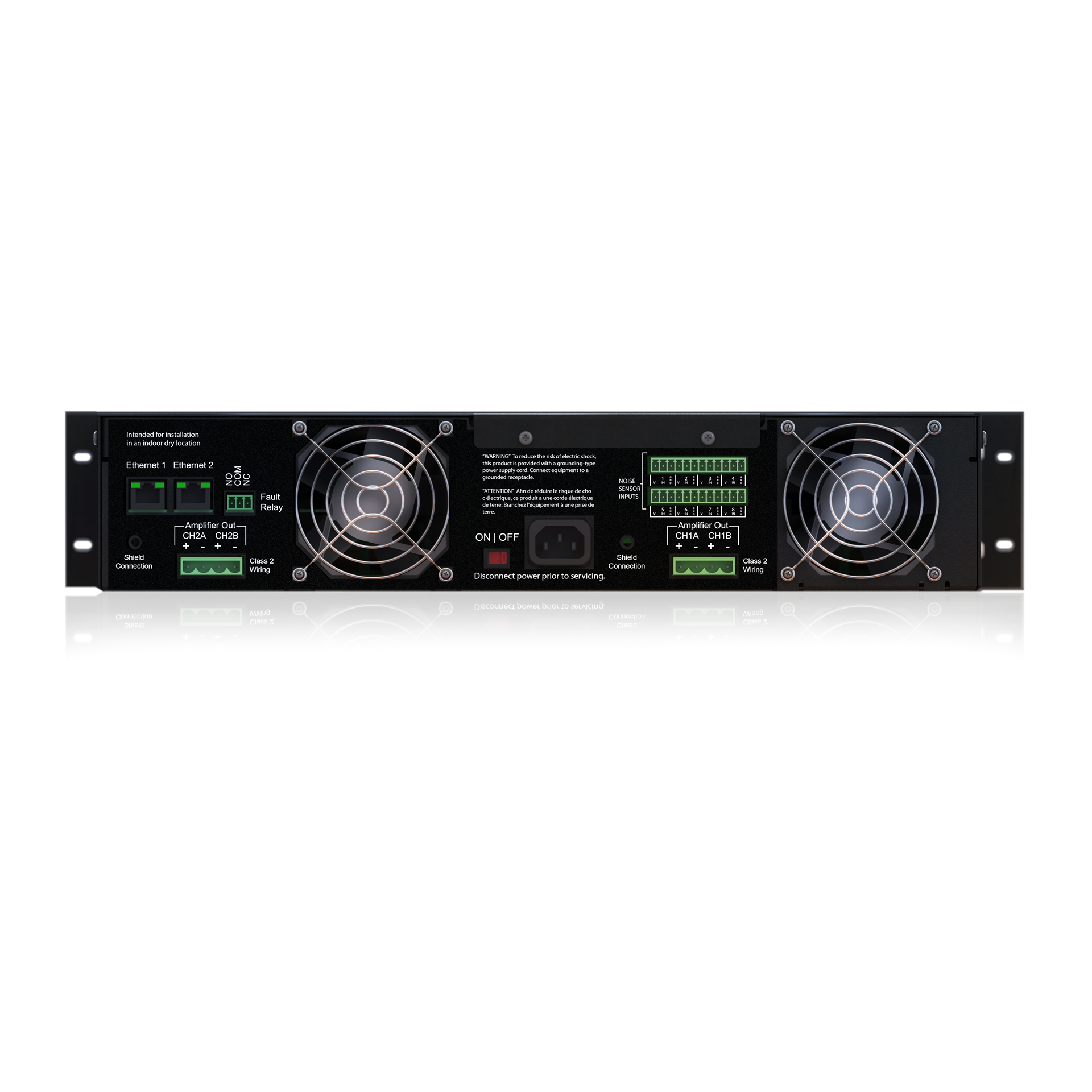 4 Channel 2400 Watt 100v Power Amplifier With Ul1711 Safety Listing How To Build Speach Dna2404dh Series 100 Volt Dante Network Audio