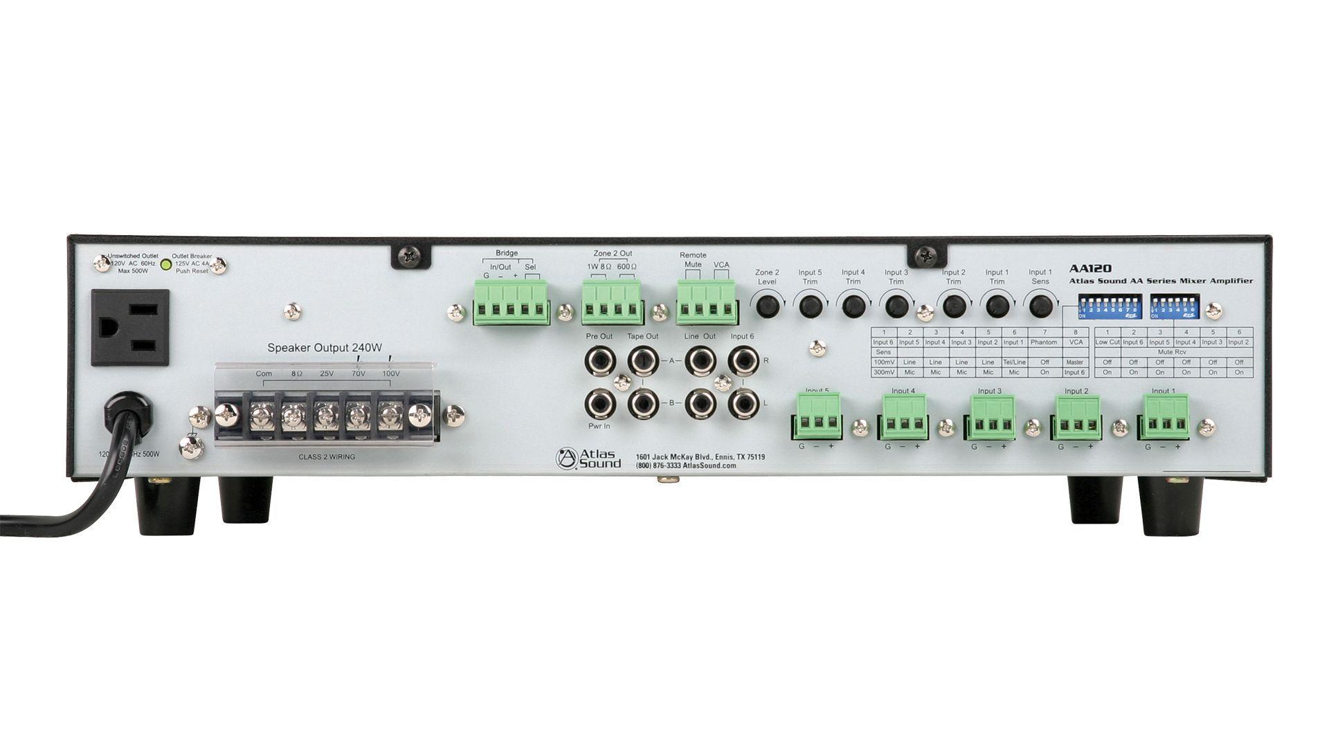 6 input 120 watt 25v70v100v8 mixer amplifier atlasied amplifier aa120 back panel sciox Choice Image
