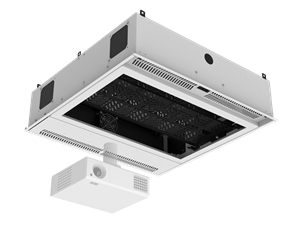 Picture of 2' x 2' Ceiling-Mount Rack with 2RU, Standard-Width, AmbiTILT™ Shelf and Integrated AC Power Pack with - With Projector Pole Adapter