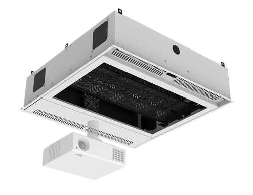 "Picture of 2' x 2' Ceiling-Mount Rack with 2RU, Standard-Width, AmbiTILT™ Shelf and Integrated AC Power Pack with Auto Sensing ""On-Off"" - With Projector Pole Adapter"