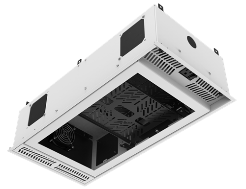 Picture of 1' x 2' Ceiling-Mount Rack with 2RU, Half-Width, AmbiTILT™ Shelf and Integrated AC Power Pack - Without Projector Pole Adapter