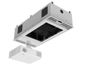 "Picture of 1' x 2' Ceiling-Mount Rack with 2RU, Half-Width, AmbiTILT™ Shelf and Integrated AC Power Pack with Auto Sensing ""On-Off"" - With Projector Pole Adapter"