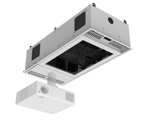 """Picture of 1' x 2' Ceiling-Mount Rack with 2RU, Half-Width, AmbiTILT™ Shelf and Integrated AC Power Pack with Auto Sensing """"On-Off"""" - With Projector Pole Adapter"""