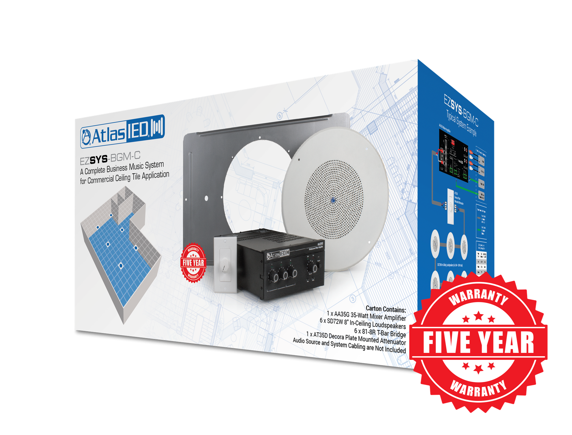0025172_complete business music paging system for ceiling tile applications with wall level controller a complete business music & paging system for ceiling tile
